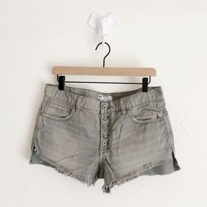 Free People Green Distressed Shorts
